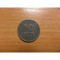 Нидерланды 10 центов 1942 г. оккупация-цинк