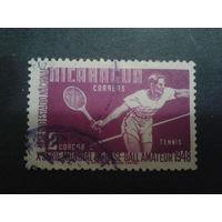 Никарагуа 1948 теннис, концевая марка серии Mi-2,5 евро гаш.