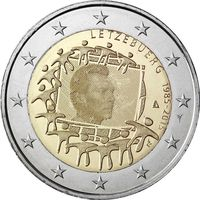 2 евро 2015 г. Люксембург 30 лет флагу .UNC из ролла
