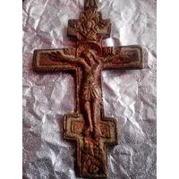 Наперстный крест 19 века большой  9 х 5 см бронза.