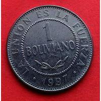04-08 Боливия, 1 боливиано 1997 г. Единственное предложение монеты данного года на АУ