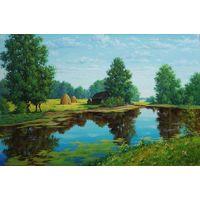 """Картина """"Тихая река"""" холст, масло, 90/60см"""