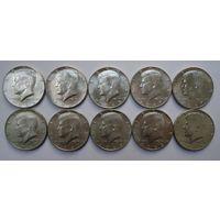 1/2 доллара 1965-67 гг. США 10 шт.