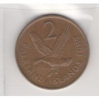 Фолклендские острова 2 пенса 1987г. Возможен обмен