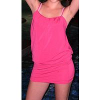 Суперстильное розовое мини-платье. Состояние НОВОГО! Садится по фигуре, ткань тянется, размер регулируется сзади (можно по-разному завязать). Куплено в Болгарии за оочень дорого.