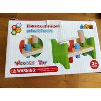 Игра стучалка с молоточком WoodenToy 3+. Дерево, не пользовались практически, так и не разобрались как играть, не сильно фиксируются бочонки. В коробке.