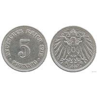 YS: Германия, Рейх, 5 пфеннигов 1912D, KM# 11 (2)