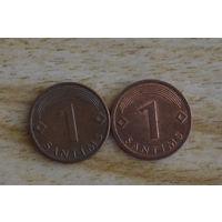 Латвия 1 сантим 2003 и 2008