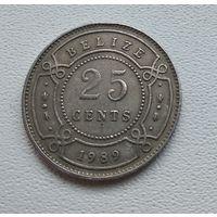 Белиз 25 центов, 1989 7-3-2