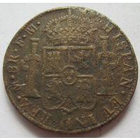 Мексика под испанским протекторатом 8 реалов 1791 - фальшак тех времен в ущерб обращению