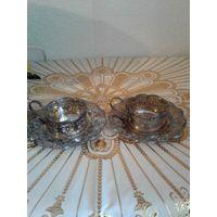 Подстаканники (подчашечники ) с блюдцами мельхиор