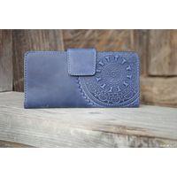 Синий кожаный кошелек Этно