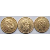 Германия. Пруссия. 3 x 20 марок 1888. год трех кайзеров, золото