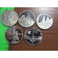 5 памятных настольных медалей.Мельхиор.Полировка.С рубля.