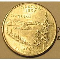 25 центов (квотер) 2005 США Орегон