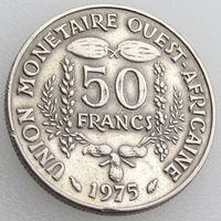 Западная Африка, 50 франков 1975 года, KM#6, растения, сельскохозяйственные продукты/ золотая гиря