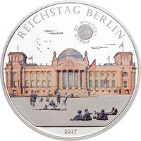 """Палау 5 долларов 2017г. """"Мир Чудес: Рейхстаг"""". Монета в капсуле; сертификат. СЕРЕБРО 20гр."""