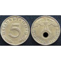 YS: Германия, Третий Рейх, 5 рейхспфеннигов 1937D, КМ# 91 (2)