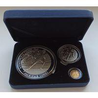 Олимпийские игры 2014 года. Лыжные гонки, подарочный набор из 3-х монет в футляре
