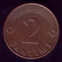 2 сантима 2000 год Латвия