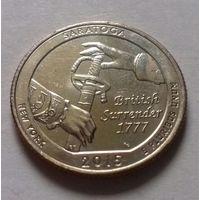 25 центов, квотер США, нац. парк Саратога (штат Нью-Йорк), P D