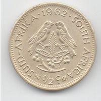 РЕСПУБЛИКА ЮЖНАЯ АФРИКА 1/2 ЦЕНТА 1962 ПТИЦЫ.