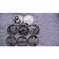 Демократическая Республика Конго 10 франков 2007г. Животные 8шт. большие посеребрянные монеты. распродажа