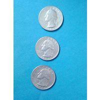 25 центов, США 1985(Р)-1993(Р)-2шт.