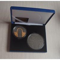 """Футляр для монет """"Беларусь - Украина. Духовное наследие. Ирмологион"""", на две монеты синий кожзаменитель черный ложемент"""