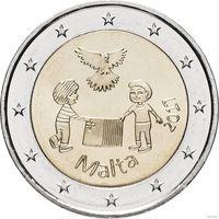 2 евро 2017 Мальта Солидарность и мир UNC из ролла