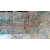 Схемы железных дорог СССР 1956-1967 г.г. ( 5 штук )