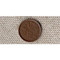 Нидерланды 1/2 цента 1938/редкая(Oct)