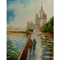Прогулка по Москве. Картина-холст,масло,мастихин