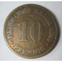 Германия. 10 пфеннигов 1889 D.  2-96