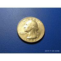Сша 25 центов 1983