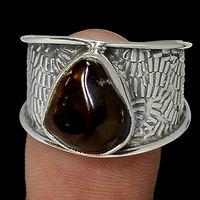 Кольцо с натуральным камнем огненный агат.
