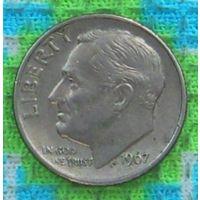 США 10 центов 1967 года, Фрaнклин Делано Рузвельт. Подписывайтесь! Много новых лотов в продаже!!!