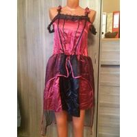 Маскарадное вечернее платье на девочку или девушку 42-44 размера. Платье бордо с черным, интересно украшено тесмой. Длина 88 см, ПОгруди в нерастянутом состоянии 40 см (очень хорошо тянется), ПОталии