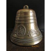 Большой колокольчик с орнаментом колокол  Сильный звон  11 см диаметра  и 10 высоты