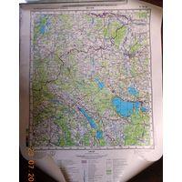 Поставы, белорусско-литовская граница карта 40х53 см.