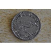 Новая Зеландия 6 пенсов 1957