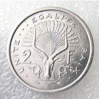 """Джибути. 2 франка 1996 года. """"Бонго - африканская винторогая антилопа"""" KM#21"""