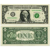 США. 1 доллар (образца 2009 года, B, Нью-Йорк, P529, UNC)