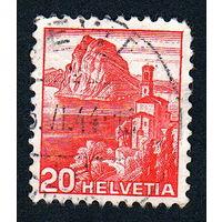 Швейцария, почтовая марка, 1936 год, номинал 20с, SG#375A (*12)