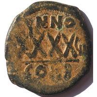 ВИЗАНТИЯ. ФОКА (602-610 г.) КОНСТАНТИНОПОЛЬ. АЕ ФОЛЛИС. 608 год.