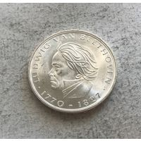 Германия 5 марок 1970 - 200 лет со дня рождения Людвига ван Бетховена - серебро, огненное состояние!