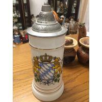 Бокал с гербом Баварии пивной керамический с крышкой из олова 25см 0,5л