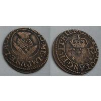 Шотландский торнер (двойной пенни) 1632-1633 г. первая медная монета на Беларуси-3