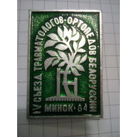 Значок 4 съезд травматологов-ортопедов Белоруссии, Минск-84