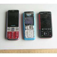 3 сотовых телефона на запчасти